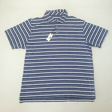 PETER MILLAR Blue Striped Polo Shirt Mountainside Collection Mens Sz 2XL