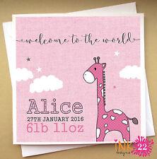 Personalised Card For New Baby 'Giraffe' Grandson, Granddaughter, Grandparents