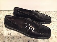 Stuart Weitzman Shoes Moccasins Loafers Flats Patent Leather Buckle Black 8 B