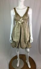 BCBG Maxazria Women's 2 Gold Sequin Beaded Ruched Bubble Hem A-Line Flare Dress