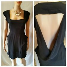 Finders keepers Dress 10 S Black Open Cut Back Pockets Front Sleeveless Zip Part