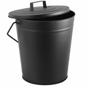 Coal Bucket Black Metal Carrier Hod With Lid and Handle Fire Tidy Kindling Large