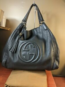 Auth Gucci Soho Shoulder Bag Leather x-Large 282308