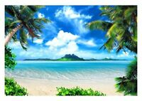 Paradise Island View - Sea Blue Sky Palm Tree Landscape Poster / Canvas Pictures
