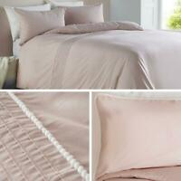 Blush Duvet Covers Pom Pom Trim Pleated Luxury Pink Quilt Cover Bedding Sets