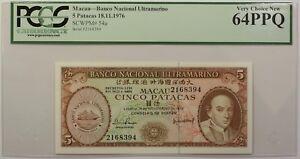 1976 Macau Banco Nacional 5 Patacas Note SCWPM# 54a PCGS 64 PPQ Very Choice New