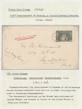 CANADA 1934 10c LOYALISTS STATUE FIRST DAY COVER FDC SASKATOON CDS