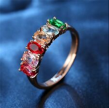 Rainbow Colour AAA Cubic Zirconia Ring Resizable Rose Gold Base Women Jewellery