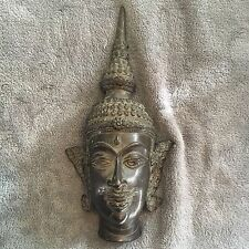 Vintage Buddha Bronze Or Bronzed Head (wall Hanging)