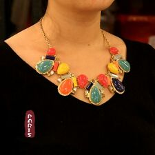 Collar Art Deco Multicolor Gota Azul Amarillo Naranja Original Noche KS 1