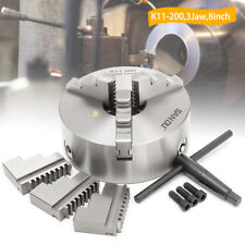 200mm 3 Jaw Lathe Chuck Self-Centering/Independent Plain Back Hardened Steel