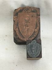 (2) Vint. 1960's Massachusetts Coat of Arms Printer's Printing Blocks