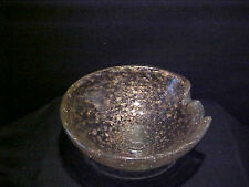 Murano Italian Blown Glass Cigar Ashtray golden With lots Real Gold flex 7 3/4'