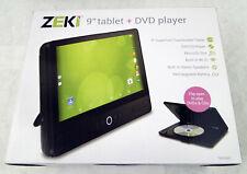 "ZEKI 9"" Tablet + DVD Player With Bundle Pack, Black, Quad Core 1.3Ghz, Case, NEW"