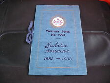 WOLSELEY LODGE No 1993 Jubilee Souvenir Brochure 1883 - 1933 Manchester Masonic