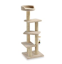 Family Cat Stepper Tree Pet Tower, Cat Furniture Scratching Post House in Tan