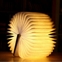 Creative Wood Grain Book Lamp USB Wooden Folding Book  Rechargeable  LED Light