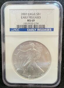 2007 $1 AMERICAN SILVER EAGLE EARLY RELEASES S$1 NGC MS 69 274