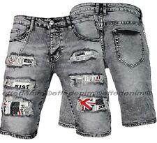Bermuda Jeans Uomo Strappati Denim Grigio Design pantaloncini elasticizzati  237