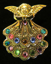 Mother's & Grandmother's Birthstone Angel Brooch 24 Karat Gold Plate & Crystals