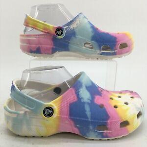 Crocs Classic Tie-Dye Graphic Clogs Womens 8 Multicolor Casual Slingback Shoes