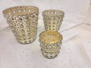 Two's Company Set Of 3 Mercury Candle Holders Or Vases round bubble design
