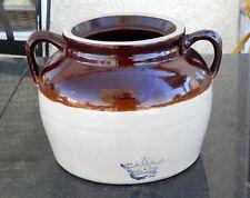 Antique 2 Handle Bean Pot #4 Blue Crown Robinson Ransbottom StoneWare Crock