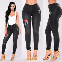 Women Denim Skinny Ripped Pants High Waist Stretch Jeans Floral Pencil Trousers