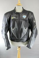 TEXPORT BLACK/SILVER ITALIAN MADE LEATHER BIKER JCKT + SHOULDER/ELBOW ARMOUR 46""