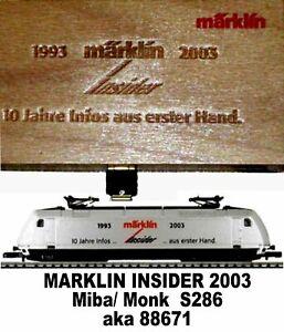 Marklin Z Scale  M/M S286 INSIDER BR101 Electric Engine Orig Wooden Box C9