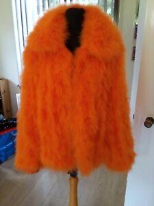Topshop Orange Marabou Feather Fluffy Jacket Size Large