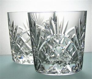 Pair Unsigned Lead Crystal Cut Glass Whisky Tumblers - 7 cm