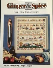 New England Sampler Cross Stitch Chart Pattern OOP Rare Historic Ginger & Spice