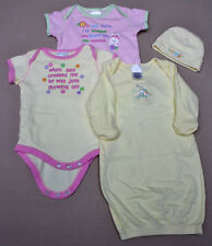 5 pc Lot of Infant Bodysuits and hats by Small Wonders Gerber Sz 0-6M EUC