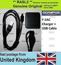 Genuine Olympus f-2ac CARICABATTERIE + CAVO USB D-755 SZ-10 SZ-11 SZ-12 SZ-14 TG-630