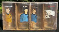 Four (4) Star Trek Animated Series Glasses, Kirk, Spock, McCoy, USS Enterprise