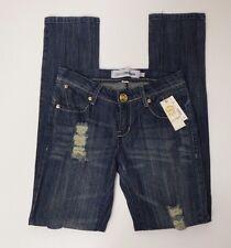 Women Blue Jean Denim Pants Size 3/4 Blue Eckoredenim Distressed Straight
