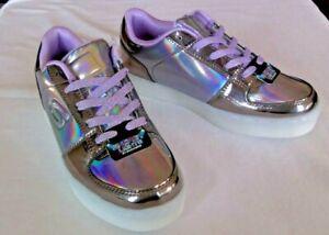 Skechers Girls' Energy Lights Light Up Shoes 7 Colors Sz 3.5 Gunmetal/Purple NEW