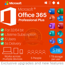 ✅Microsoft Office 365 Pro Plus User Account.Lifetime 5 Devices for Win and Mac