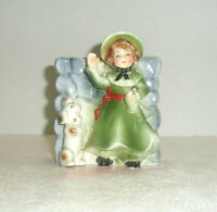 Vintage Figural Wall Pocket Planter Lady with Poodle Green Coat and Hat