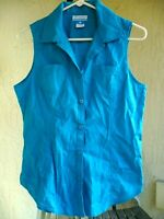 COLUMBIA S SOLID TURQUOISE SLEEVELESS COTTON BUTTON DOWN POCKET BLOUSE TOP WOMEN