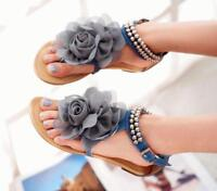 US10 Flower Women Pearl Ankle Strap Flat T-STRAP Thong Sandals Flip Flops Zsell