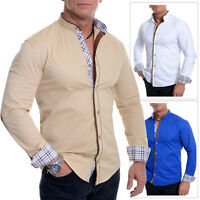 Men's Mandarin Collar Shirt Checkered Suede Elbow Patches Slim Fit Cotton White