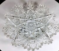 "Antique ABP Brilliant Glass Cut Crystal Dish 16 Point Hobstar Sawtooth Edge 6"""