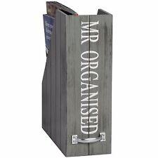 SHABBY Chic Bianco Grigio l'onorevole organizzata in legno magazine deposito Storage Box Holder