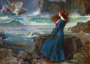 John William Waterhouse - Miranda the Tempest A2 Canvas Print 42x59.4cm Unframed