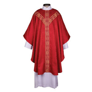 Red Traditio Semi-Gothic Chasuble Y Orphrey and Understole
