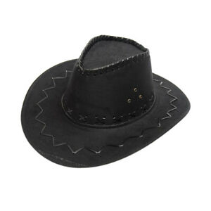 Kids Summer Vintage Simple Straw Cowboy Hat Fancy Dress Sun Hat Wide Brim