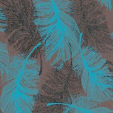 Schokobraun und blaugrün Feder Tapete silber Glitzer von COLOROLL m0961