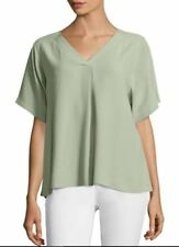 c7cd40ad471 Eileen Fisher Sea Silk Georgette Crepe V Neck Top Blouse Medium